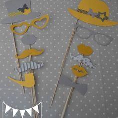 Lot 12 pièces photobooth jaune gris mariage moustache bouche lunettes pipe  - anniversaire fête baptême baby shower