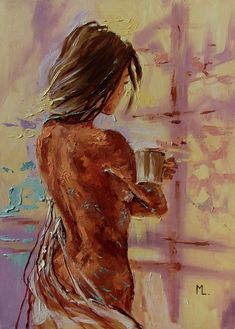 """Buy """" COFFEE TIME """" - 50x70cm original oil painting on canvas, gift, palette kniffe, Oil painting by Monika Luniak on Artfinder. Discover thousands of other original paintings, prints, sculptures and photography from independent artists."""