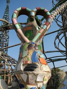 "The ""Watts Towers"" consisting of 17 major sculptures constructed of structural steel and covered with mortar are the work of one man. --Watts district, Los Angeles, CA Watts Towers, Mosaic Art, Mosaics, Colour Architecture, Bad Art, Walker Art, Art Brut, Naive Art, Built Environment"