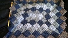 Entralac crochet afghan, about 1/2 done