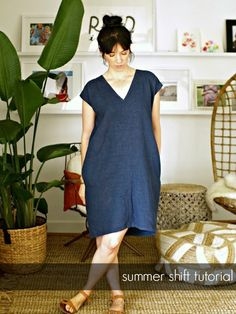 This Little Miggy Stayed Home: Make: Easy Summer Shift TutorialYou can find Dress patterns and more on our website.This Little Miggy Stayed Home: Make: Easy Summer Shift T. Linen Dress Pattern, Dress Sewing Patterns, Sewing Patterns Free, Clothing Patterns, Skirt Patterns, Simple Dress Pattern, Blouse Patterns, Coat Patterns, Skirt Sewing