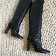 Shoes | Made In Italy Black Leather Over The Knee Boots | Poshmark Leather Over The Knee Boots, Vintage Boots, Heeled Boots, Black Leather, Italy, Heels, Fashion, High Heel Boots, Heel