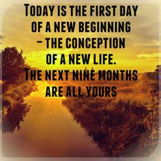 Love Your Life: Today  Today is the first day of a new beginning - the conception of a new life. The next nine months are all yours.