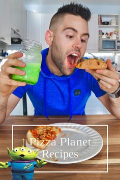We made 2 pizza recipes and the alien slime drink from Pizza Planet and they were all AMAZING! #pizza #disneyrecipe #pizzaplanet #toystory Disney Recipes, Disney Food, Disney Parks, Slim Drink, Pizza Planet, Toy Story Alien, Beef Patty, American Cheese, Those Recipe
