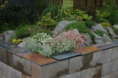 The slate tiles on top look great! Lots of other ideas here for using cinderblocks in the landscape/patio