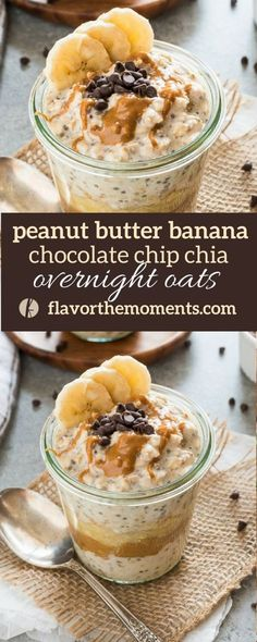 Peanut Butter Banana Chocolate Chip Chia Overnight Oats are overnight oats packed with banana, creamy peanut butter and topped with chocolate chips! (GF, Vegan option) peanut butter chocolate for peanut butter lovers peanut butter with peanut butter easy Overnight Oats Chocolate, Overnight Oats In A Jar, Peanut Butter Overnight Oats, Healthy Peanut Butter, Peanut Butter Banana, Creamy Peanut Butter, Healthy Overnight Oats, Dairy Free Overnight Oats, Best Overnight Oats Recipe