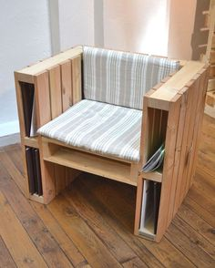 Simple Inexpensive DIY Pallet Furniture Ideas - Page 10 of Wooden Pallet Chair Designs For Patio FurnitureBy buying a few plants, or better yet, ask buddies and household for begins, you may begin to make your home a bit more comfy. Wooden Pallet Projects, Wooden Pallet Furniture, Pallet Crafts, Recycled Furniture, Pallet Ideas, Furniture Projects, Wood Pallets, Furniture Making, Diy Furniture