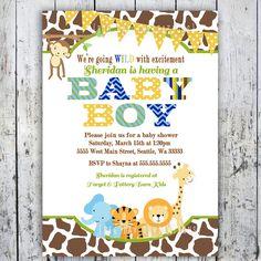 Safari Baby Shower Invitations, Jungle Animal Theme, Printable Invite for Boy or Girl Birthday too.