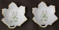 Pair of Linnaea Borealis Leaf Shaped Tea Bag Holders Hackefors Porslin