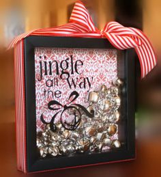 """Jingle All The Way"" Bells Shadow Box Christmas Holiday Mantle Table Decor 