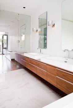timber vaneer bathroom vanity   wall hung - I love