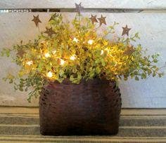 Primitive Pepper Grass Lighted Basket etsy.com/shop/WillowBPrimitives