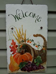 Autumn Welcome Sign  Hand Painted Outdoor Slate by DancingBrushes, $49.00