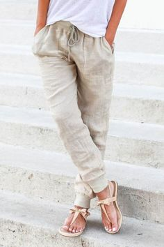 Lilly Relaxed Linen Joggers - ShopLuckyDuck - 1