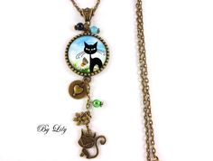"Necklace ""Black Cat in the garden,"" retro pendant cabochon!"