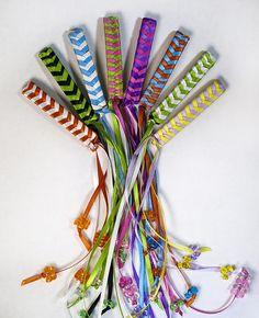 Ribbon hair barrettes.