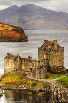 Eilean Donan Castle, Loch Duich, Kintail - the view from Carr Brae. Scotland,