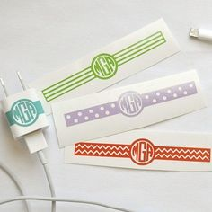 """Too many iphone/ipad chargers in the house? Use this to decal to label yours so you never confuse them again!~This listing is for ONE .75"""" x 4"""" Vinyl Decal using outdoor quality vinyl.~Choose from Solid, Polka Dot, Chevron, or Stripes~You may choose any color available in the color chart photo.The monogram order is First Initial, Last Initial, Middle Initial.When purchasing please include the monogram you would like in this orderFIRST LAST MIDDLE (..."""