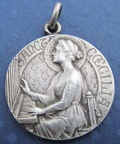 Saint joseph vintage silver religious medal by cherishedsaints antique religious medal saint cecilia french sterling silver signed tricard ss 459 aloadofball Image collections