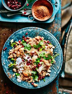 Spiced cauliflower, pea and cashew pilaf - Beautifully fragrant and spicy, great for Meat Free Mondays.