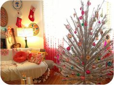 Vintage aluminum tree & ornaments by valeriekathryn, via Flickr