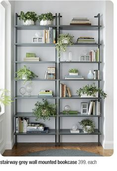 Wall Mounted Bookshelves stairway 96 wall mounted bookcase in storage | cb2 $399 to replace