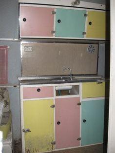 vintage caravan cupboards-cool!