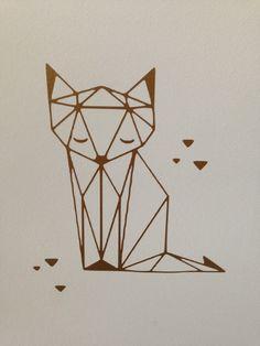 """Sticker doré """"Renard origami"""" - Handmade"""