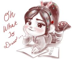 Vanellope - Let's Draw Somethin' by artistsncoffeeshops. Vanellope von Schweetz is a lead character in the Disney movie Wreck-it Ralph. Cute Cartoon Drawings, Cartoon Sketches, Disney Sketches, Pencil Art Drawings, Disney Drawings, Arte Disney, Disney Fan Art, Disney Magic, Vanellope Y Ralph