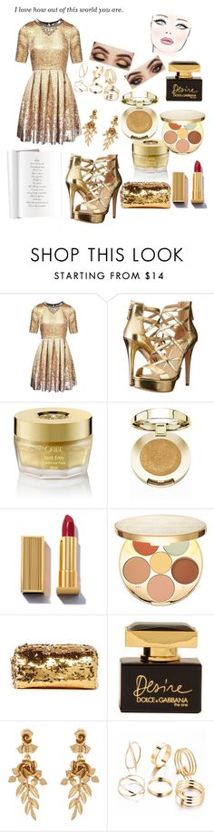 """Golden Dress Contest"" by kitty-cat130 ❤ liked on Polyvore featuring Matthew Williamson, GUESS, Oribe, Milani, tarte, Deux Lux, Dolce&Gabbana, Cushnie Et Ochs and Oscar de la Renta"