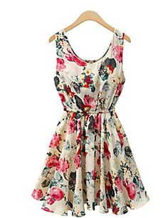 YiLuo Women's Sexy/Beach/Print Round Sleeveless Dresses (Chi... – USD $ 9.99