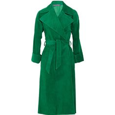 Ralph Lauren Collection Leah suede coat ($2,390) ❤ liked on Polyvore featuring outerwear, coats, jackets, green, coats & jackets, green coats, ralph lauren collection, suede leather coat, suede coat and open front coat