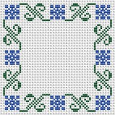 Cross Stitch Borders An easy cross stitch pattern with two colors - blue and green. Also suitable for making biscornu, small photo frames, borders and other projects. Cross Stitch Boarders, Easy Cross Stitch Patterns, Small Cross Stitch, Cross Stitch Bookmarks, Cross Stitch Fabric, Cross Stitch Designs, Cross Stitching, Cross Stitch Embroidery, Cross Stitch Geometric