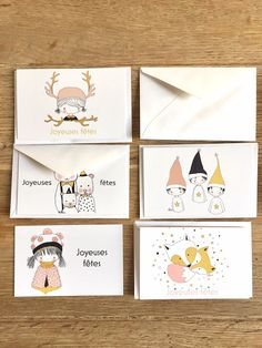 Mini cartes de voeux  Nélia Illustration Playing Cards, Illustration, Etsy, Mini, Card Ideas, Greeting Cards, Happy Holidays, Lucky Charm, Playing Card Games
