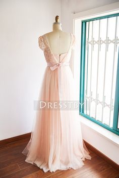 Blush pink two pieces lace tulle long prom dress, bridesmaid dress