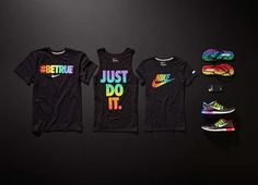 The #BeTrue collection includes Nike sneakers, sandals and several types of shirts, all of which features a rainbow motif in unison with the rainbow color scheme of Pride. Some of the profits garnered from the sales will be donated to LGBT Sports Coalition, which helps support ending discrimination in sports.