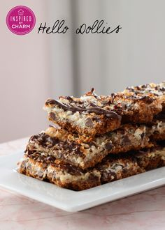 These look completely dangerous! This may be happening for Easter -- Hello Dollies (Chocolate-Coconut Bars) via Inspired by Charm