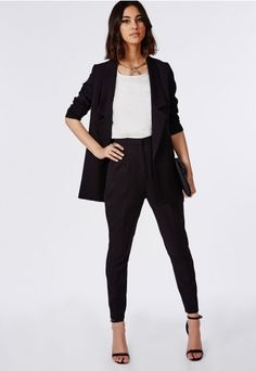 High Waisted Cigarette Trousers Black - Trousers - Missguided