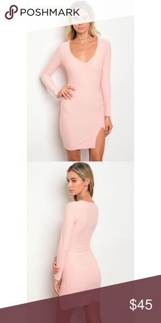 """New peachy pink deep-v slit mini dress . Brand new from my boutique  . Model is wearing the exact product  . Fabric Content: 95% POLYESTER 5% SPANDEX . Made in the USA                Any questions? Don't hesitate to ask  ✨ Use the """"buy now"""" or """"add to bundle"""" feature to purchase ✨  Out of town for holiday, this will be shipped to you at the end of the week 💕 Dresses Mini"""