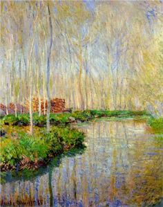 The River Epte - Claude Monet. ,Monet is brilliant Monet Paintings, Impressionist Paintings, Landscape Paintings, Abstract Paintings, Claude Monet, Artist Monet, Art Et Architecture, Inspiration Art, Wassily Kandinsky