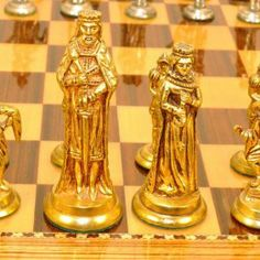 Metal Chess Sets | Antique 1950s Brass Gold & Silver Plated Chess Set - Made in Spain