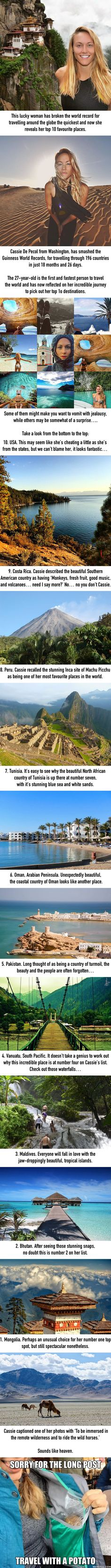 The First Woman To Visit Every Country Reveals Her Top 10 Favourite Places - 9GAG