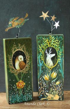 Adorable owl and deer animal artwork using wood pieces. An original art piece hand painted in acrylic by earthangelsarts