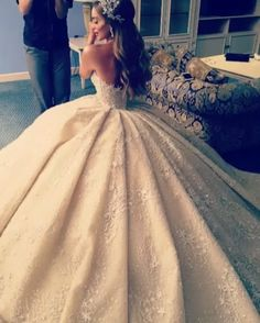 This Lebanese Bride's Wedding Gown Might Weigh More Than Her, but It's Tremendously Gorgeous