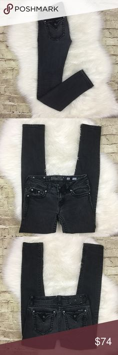 """Miss Me Skinny Jeans Black/charcoal like skinny jeans by Miss Me in excellent preowned condition, shoes no signs of wear. Approximate measurements laying flat waist 13.5"""", rise 7"""", inseam 29.5"""". 98% cotton 2% elastane Miss Me Jeans Skinny"""