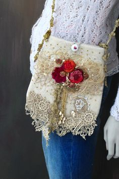 Spicy roses bag-  romantic embroidered purse, crossbody bag, cream, lush reds, vintage trims, wearable art