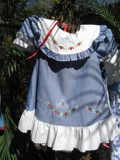 Vintage Dress  Circa 1980's  Sweet Blue Chambray by PeoplePuppys