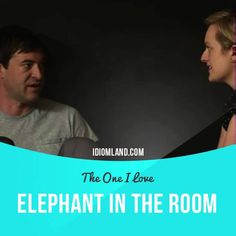 """Elephant in the room"" is an ​obvious ​problem that ​people do not ​want to ​talk about.  Usage in a movie (""The One I Love""): - Um… I'm glad you're here 'cause there is something I want to talk to you about. And it's a bit of an elephant in the room, and I think it's time we discuss it. - All right. - Okay.  #idiom #idioms #slang #saying #sayings #phrase #phrases #expression #expressions #english #englishlanguage #learnenglish #studyenglish #language #vocabulary #dictionary #grammar #efl…"