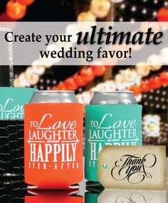 Create your ultimate wedding favor with us, your guests will be thrilled when you provide them with personalized can coolers at your wedding! You will also receive a FREE bride & groom can cooler with every online order! Use coupon code PINFREESHIP and receive FREE Ground Shipping in the Continental United States! Code is not valid with other coupon codes and is valid through April 4, 2017!