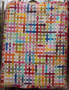 Couvre-lit deux places ou jeté de canapé en patchwork, multicolore sur fond blanc : Textiles et tapis par acropatch